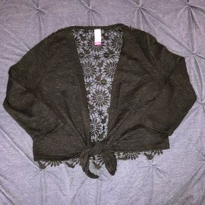 Black 3/4 sleeve cardigan with laced back